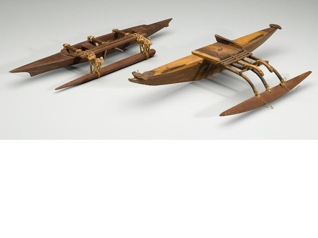 Two Model Canoes, Micronesia  lengths 17 7/8in (45.5cm) and 18 3/8in (447cm)