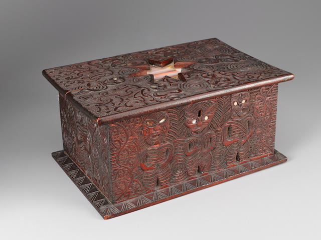 Rare Maori Sewing Box by James Edward Little, New Zealand, ca. 1890-1920 6 by 12 3/4 by 8 1/2in (15.2 by 32.5 by 21.5cm)