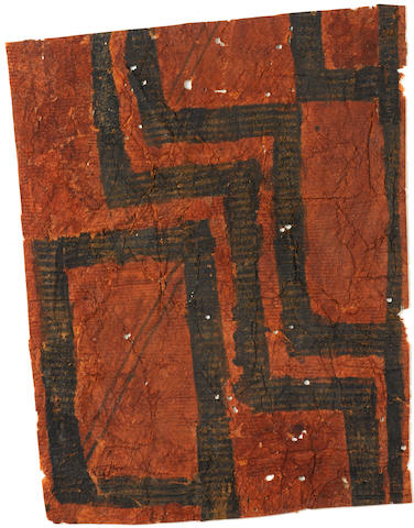 Important and Rare Collection of Fortyeight Decorated Barkcloth Samples, Hawaiian Islands each 2 1/2 by 4in (6.4 by 10cm)