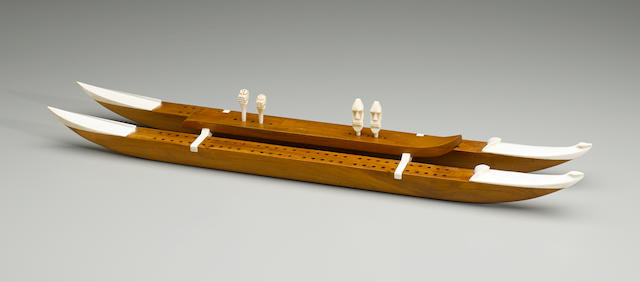 Very Rare John Roberts Cribbage Board Game, circa 1930 length 23 1/4in (59cm)