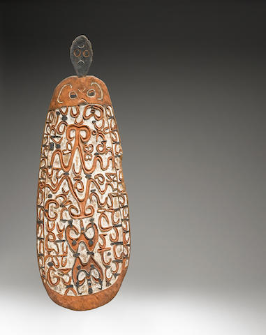 War Shield, probably Wasar River, North-Western Asmat, West Papua height 66 3/4in (169.5cm)