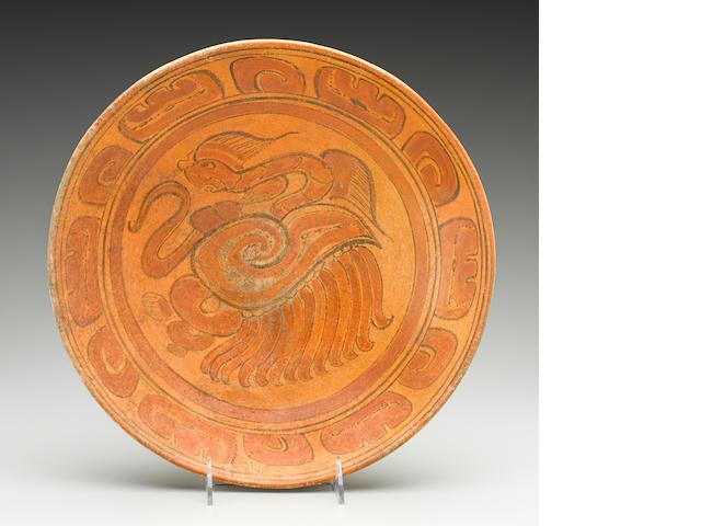 Maya Polychrome Plate<BR />Late Classic, ca. A.D. 550-950 diameter 12 3/4in (32.4cm)