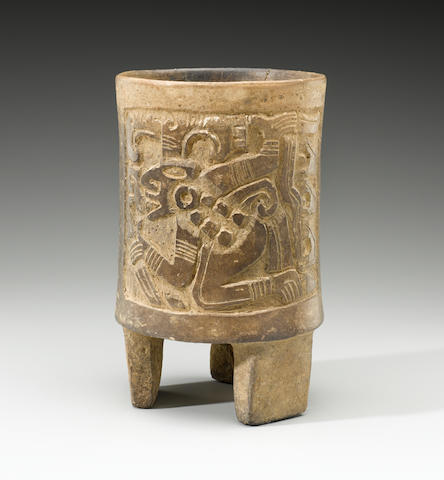 Maya Carved Cylinder Vessel<BR />Late Classic, ca. A.D. 600-900 height 7 7/8in (22cm); diameter 4 7/8in (12.6cm)