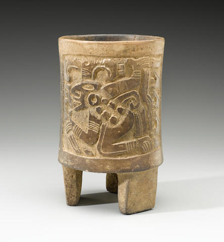 Maya Carved Cylinder Vessel Late Classic, ca. A.D. 550-950