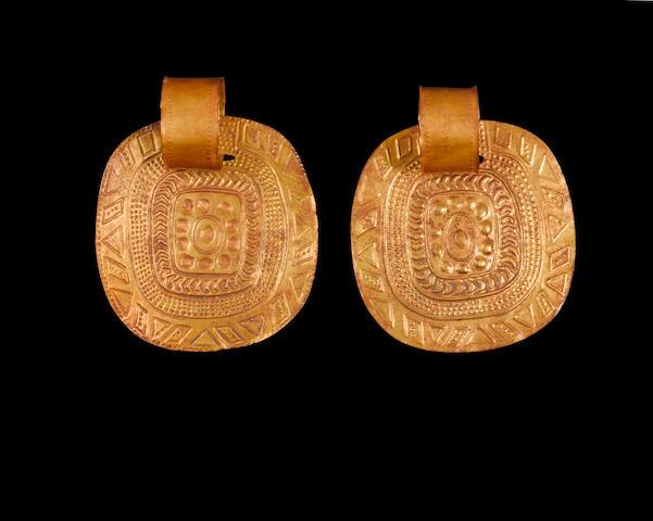 Pair of Large Inca Gold Earrings, ca. A.D. 1450-1532
