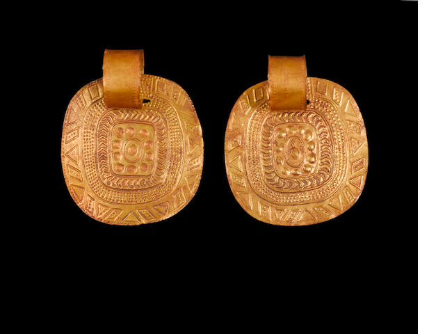 Pair of Inca Gold Earrings, ca. A.D. 1450-1532 diameter of each
