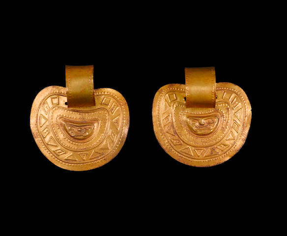 Pair of Inca Gold Earrings, ca. A.D. 1450-1532 diameters
