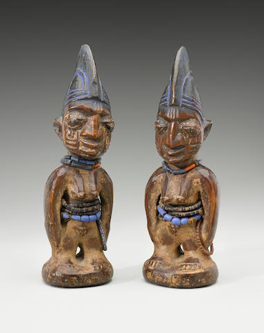 Yoruba Female Twins, Nigeria heights 11 1/4in (28.6cm) and 11 3/8in (28.9cm)