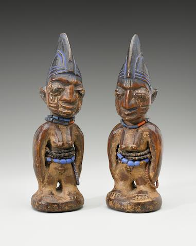 Yoruba Female Twins, Nigeria heights 11 1/4in (28.6cm) and 11 3/8in (28.9cm)