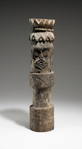 Busang Dayak Support Post Section with Three Protective Faces, Borneo Island height 37 3/4in (95.9cm)