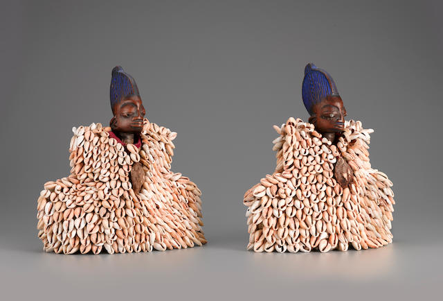 Yoruba Twin Male Figures, Nigeria height of each 11in (28cm)
