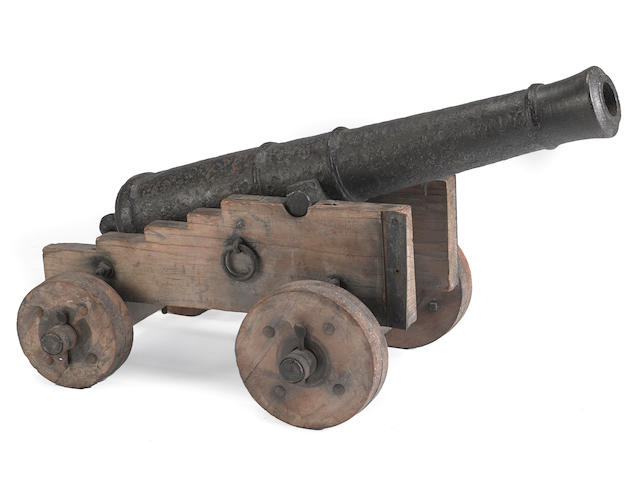 An iron three pounder gun with attribution to the Siege of Yorktown