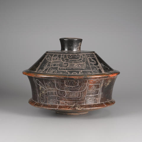 Large Maya Blackware Incised Lidded Vessel<BR />Early Classic, ca. A.D. 250-450 height 10 3/4in (27.3cm); diamter 13 3/8in (34cm)