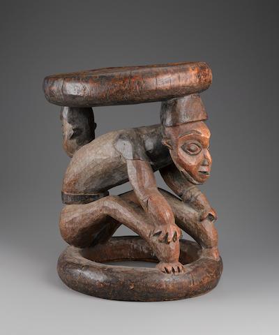 Bamilike/Bamenda Figurative Stool, Cameroon  height 17 1/4in (44cm)