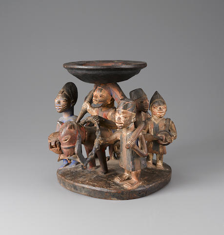 Yoruba Divination Bowl, Nigeria height from stand 10 3/4in (27.3cm)
