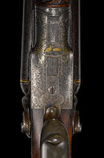 A fine engraved and gold-inlaid 16 gauge German double barrel hammer gun for Jacob Sackreuter of Frankfurt