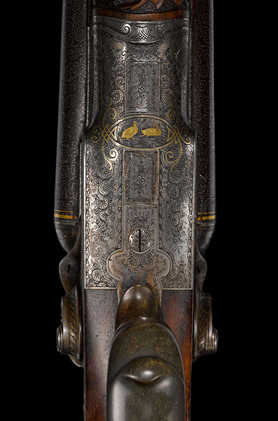 A fine engraved and gold-inlaid 16 gauge German double barrel hammer gun for Jacob Sackreuter of Frankfurt -Select US Arms Type-