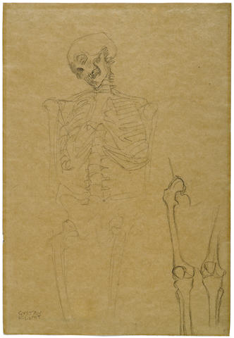GUSTAV KLIMT (1862-1918) Two studies for the skeleton in the painting Medizin (1901-1907)  17 3/4 x 12 1/4in. (46 x 31cm) Executed circa 1900