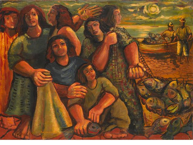 EMILIANO DI CAVALCANTI (1897-1976) Pescadores, 1948 21 1/2 x 29 7/8in. (54.5 x 76cm)