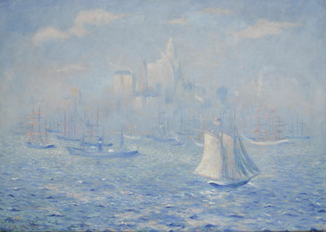 Theodore Earl Butler (American, 1861-1936) New York Harbor 31 1/2 x 44in