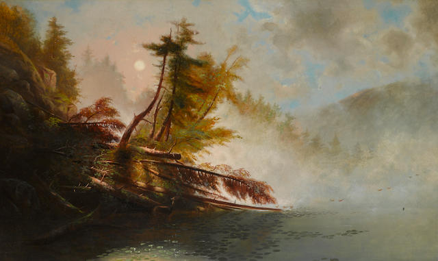 James McDougal Hart (American, 1828-1901) Loon Lake, Morning 30 x 50in