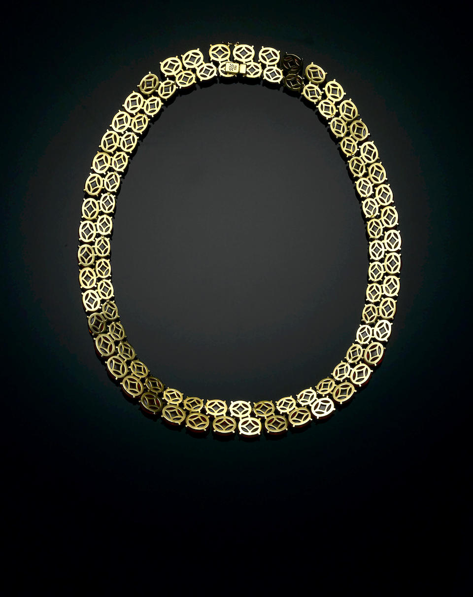 Superb Spessartite Garnet and Gold Necklace
