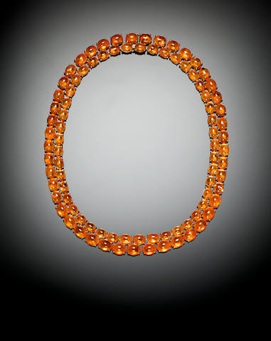 Superb Spessartite Garnet and Gold Necklace