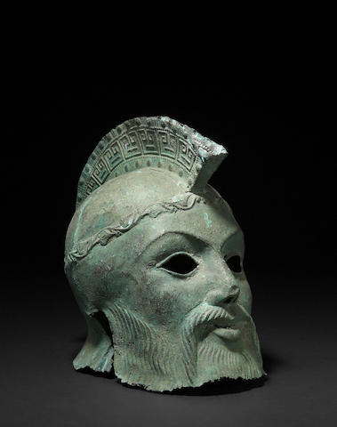 A bronze helmet in the Greek style