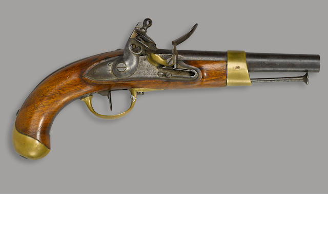 An historic inscribed French Model An XIII flintlock cavalry pistol used at the Battle of Waterloo