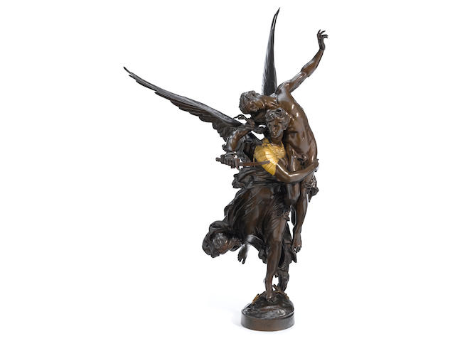 A French gilt and patinated bronze figural group: Gloria Victus <BR />after a model by Jean Antonin Mercié (French, 1845-1916)
