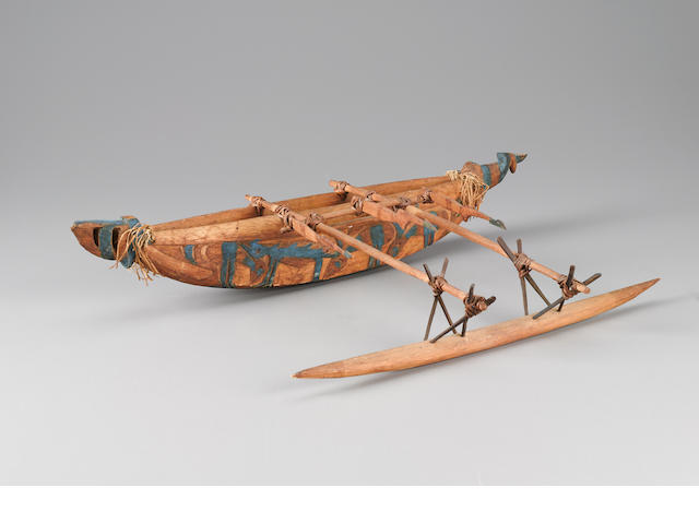 Outrigger Canoe Model, Papua New Guinea length 20 1/2in (52cm)