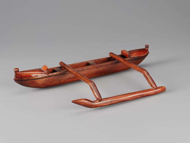Outrigger Canoe Model, Hawaiian Islands length 16 1/2in (42cm)