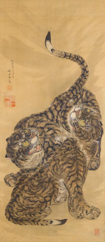 Kumashiro Yuhi (1712-1772) Tigers signed 'Yuhi' with three seals ink and color on silk framed and glazed