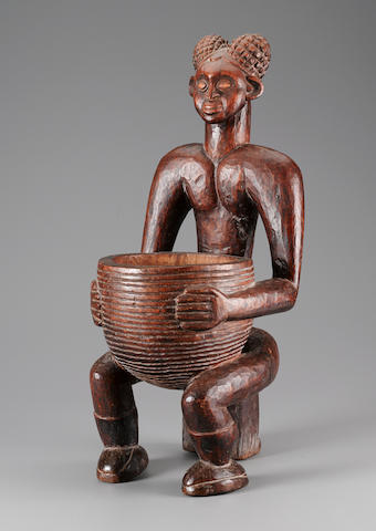 Important Grasslands Seated Male Ancestor Figure with Bowl, Cameroon