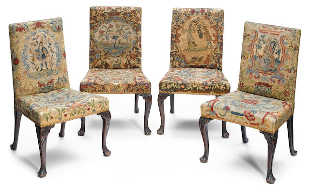 A good set of four George III carved mahogany side chairs