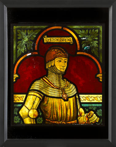 A painting on glass of a Danish knight -Select US Arms Type-