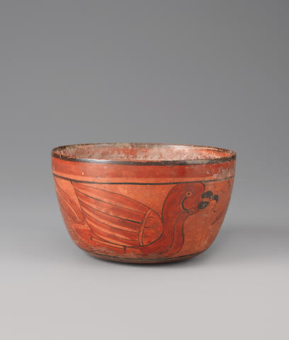 Maya Polychromed Circular Pot<BR />Late Classic, ca. A.D. 550-950 width 7 1/4in (18.5cm)