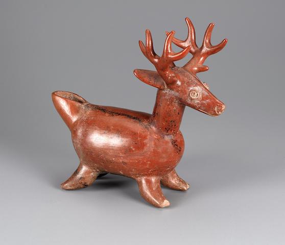 Colima Deer Vessel<BR />Protoclassic, ca. 100 B.C. - A.D. 250 length 12 1/2in (31.8cm)