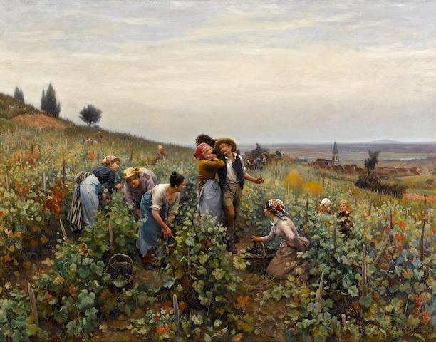 Daniel Ridgway Knight (American, 1839-1924) La Vendange (In the vineyard), 1879 33 3/4 x 43 3/4in