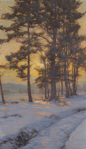 Walter Launt Palmer (American, 1854-1932) Path through the snow under golden skies 30 x 18in