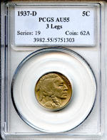 1937-D Three Legged 5C AU55 PCGS