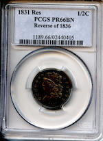 1831 1/2C Proof 66 Brown PCGS