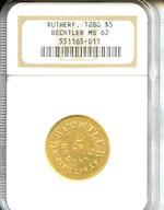 Undated (1837-42) $5 C. Bechtler, 128 G, 22 C., RUTHERF, MS62 NGC