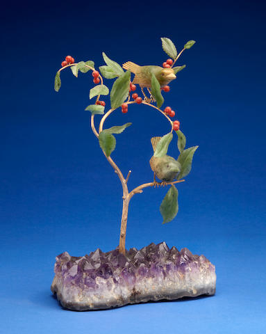 Gemstone Carving of Two Finches on a Branch