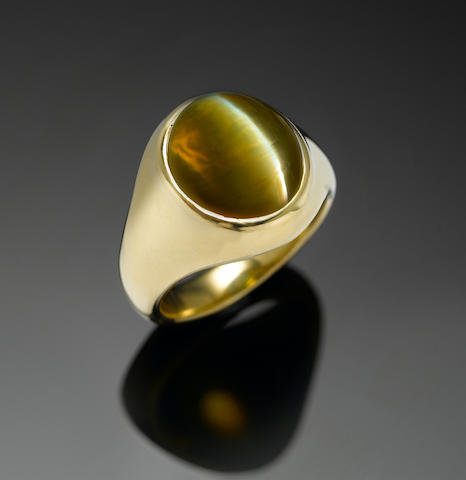 Cat's eye Crysoberyl ring, 21 cts., 18k yellow gold