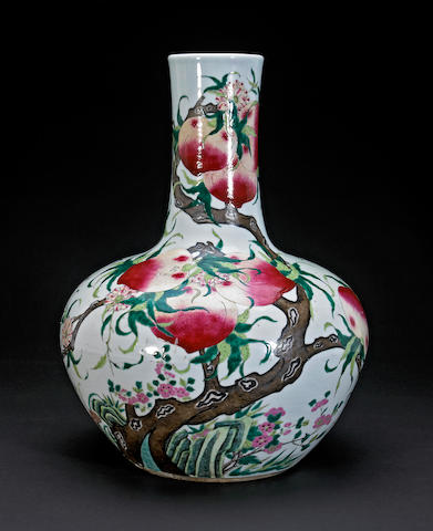 A large famille rose enameled porcelain long neck vase Qianlong mark Republic period
