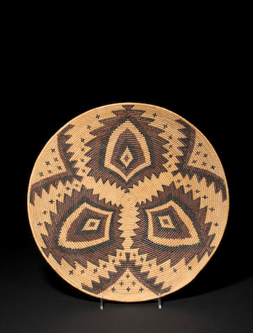 A superb Maidu polychrome tray