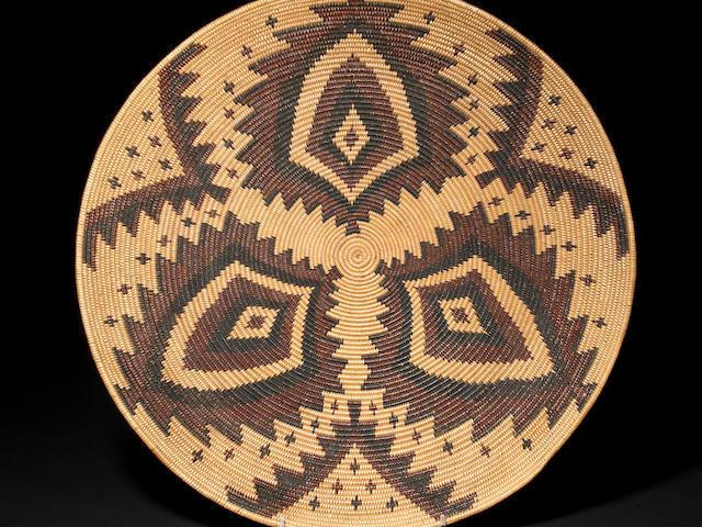 A superb Maidu polychrome tray
