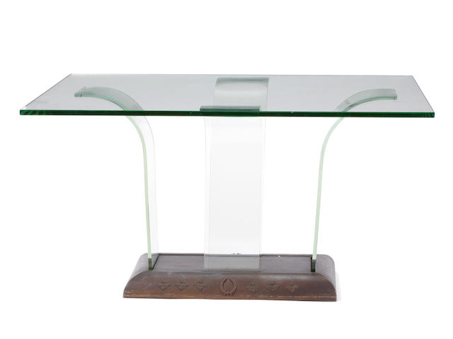 A Contemporary glass and mixed wood center table