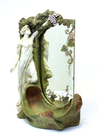 A Dux porcelain figural table mirror early 20th century